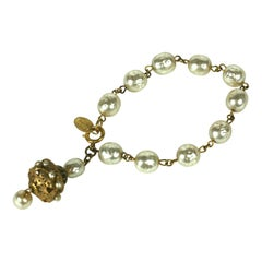Miriam Haskell Baroque Pearl and Gilt Filigree Fob Bracelet