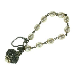 Miriam Haskell Baroque Pearl and Silver Gilt Filigree Fob Bracelet