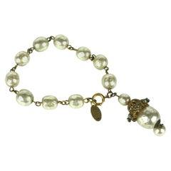 Miriam Haskell Baroque Pearl Fob Bracelet