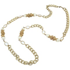 Miriam Haskell Baroque Pearl With Gilt Filigree Chain Necklace, 1950's