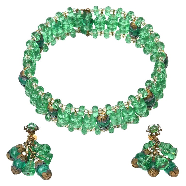 Miriam Haskell Beaded Green Glass Choker & Matching Dangle Earrings Set Vintage For Sale