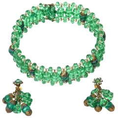 Miriam Haskell Beaded Green Glass Choker & Matching Dangle Earrings Set Vintage