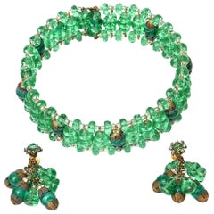 Miriam Haskell Beaded Green Glass Choker & Matching Dangle Earrings Set Vintage