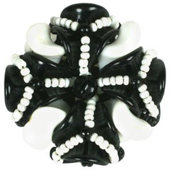 Miriam Haskell Black and White Pate de Verre Brooch