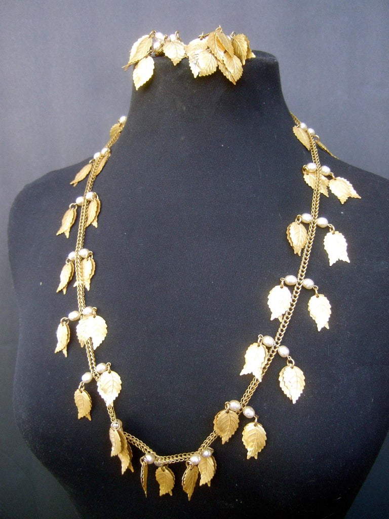 Miriam Haskell Etruscan Revival 4 Strand NecklaceEarring Set