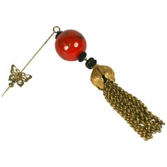 Miriam Haskell Chinoiserie Tassel Stick Pin Brooch