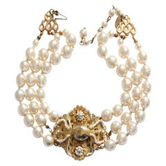 Miriam Haskell Choker Necklace Multistrand Gold Filigree & Baroque Glass Pearls