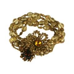 Miriam Haskell Citrine Flower Multistrand Bracelet
