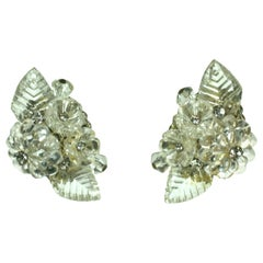 Miriam Haskell Crystal Flower Cluster Earrings
