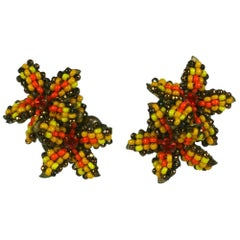Miriam Haskell Double Flower Earrings