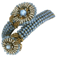 Miriam Haskell Elaborate Beaded Wrap Cuff Bracelet
