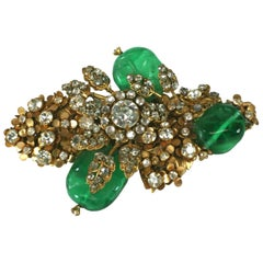 Miriam Haskell Elaborate Emerald Bud Bouquet Brooch