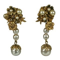 Miriam Haskell Elaborate Pearl and Gilt Long Earclips