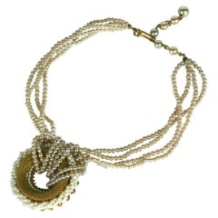 Miriam Haskell Gilt and Pearl Loop Necklace