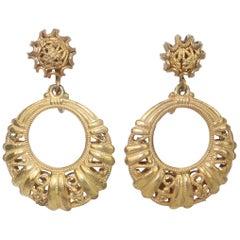 Miriam Haskell Gilt Filigree Hoop Earrings, 1960's