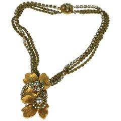 Miriam Haskell Gilt Leaves Pendant Necklace