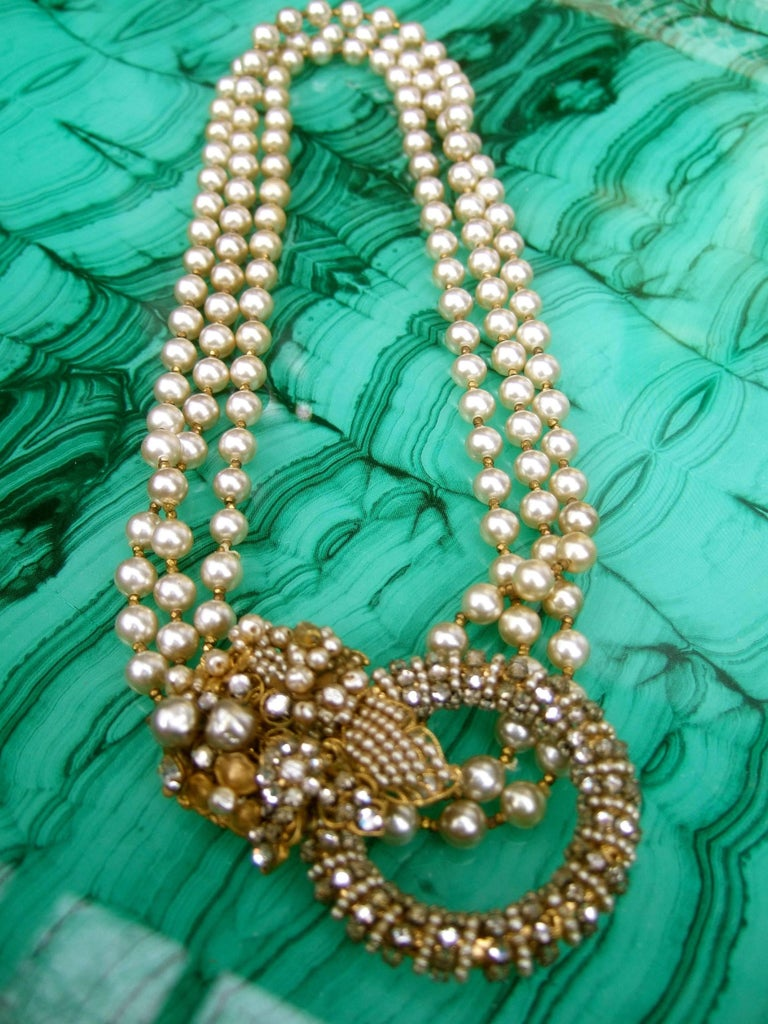 Miriam Haskell Glass Pearl Choker Necklace Circa 1950s At