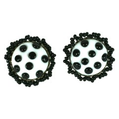 Miriam Haskell Glass Polka Dot Earrings