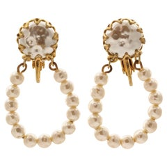Miriam Haskell Gold Plated Baroque Pearl Hoop Drop Clip On Earrings