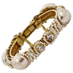 Miriam Haskell Gold Tone Baroque Pearl Bracelet with Beads and Rhinestones