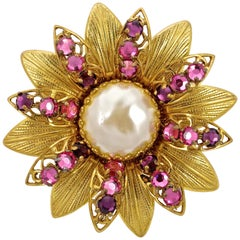 Miriam Haskell Gold Tone Baroque Pearl Brooch with Pink and Purple Rhinestones