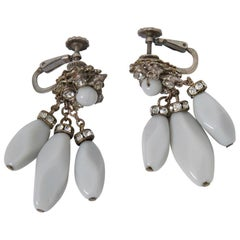 Miriam Haskell Gray Drop Earrings