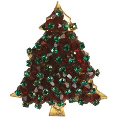 Miriam Haskell Holiday Christmas Tree Brooch