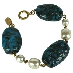 Miriam Haskell Lapis Pate de Verre and Pearl Bracelet