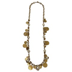 Miriam Haskell Large Pearl & French Coin Long Necklace