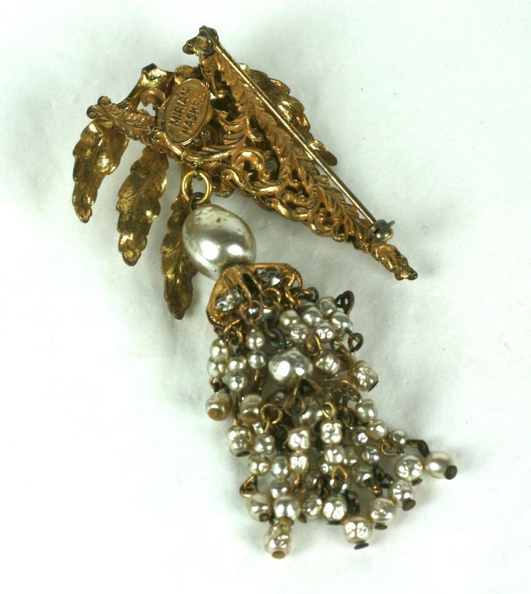 Miriam Haskell Leaf and Pearl Tassel Brooch In Excellent Condition For Sale In Riverdale, NY