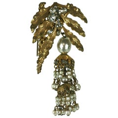 Miriam Haskell Leaf and Pearl Tassel Brooch
