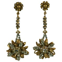Miriam Haskell Long Flower Pendant Earclips