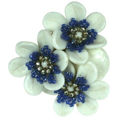 Miriam Haskell Milk Glass Flower Brooch