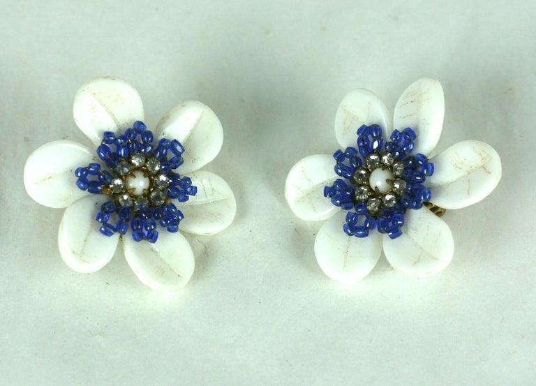 Women's Miriam Haskell Milk Glass Flower Earrings For Sale