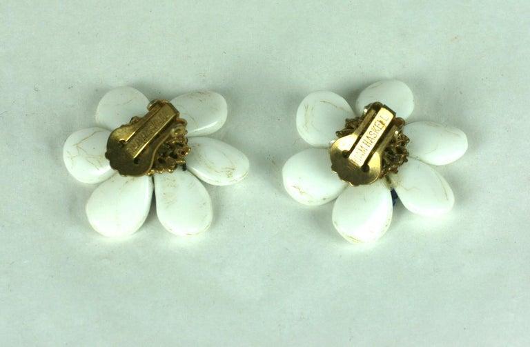 Miriam Haskell Milk Glass Flower Earrings For Sale 1