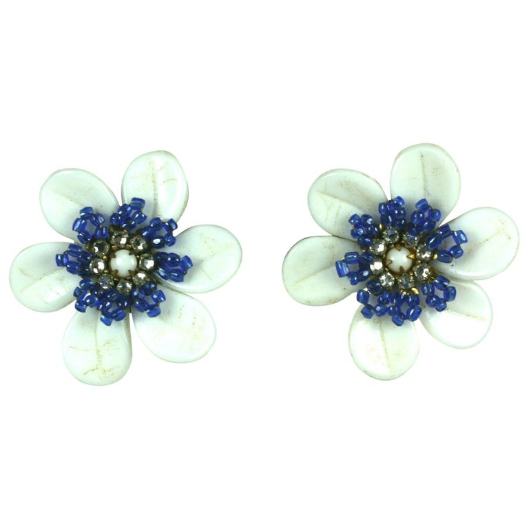 Miriam Haskell Milk Glass Flower Earrings For Sale