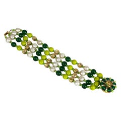 Miriam Haskell Multistrand Green and Pearl Bracelet