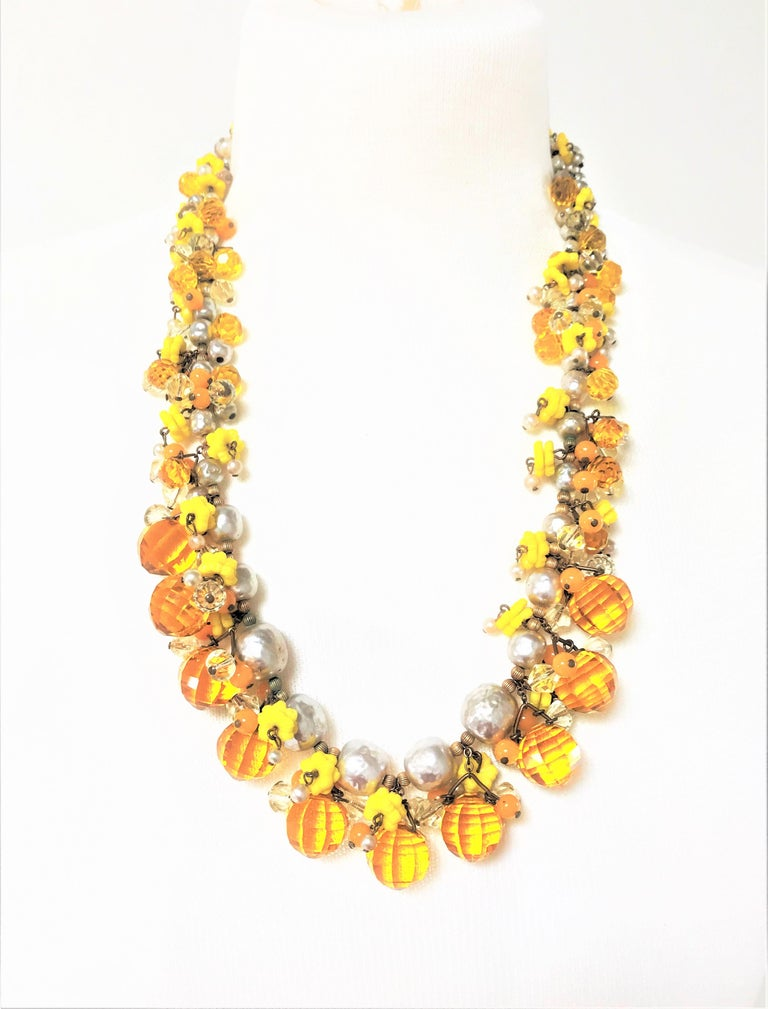 Ball Cut MIRIAM HASKELL necklace bookpiece 1950s For Sale
