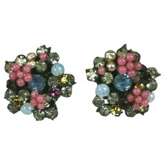 Miriam Haskell Pastel Flower Earrings