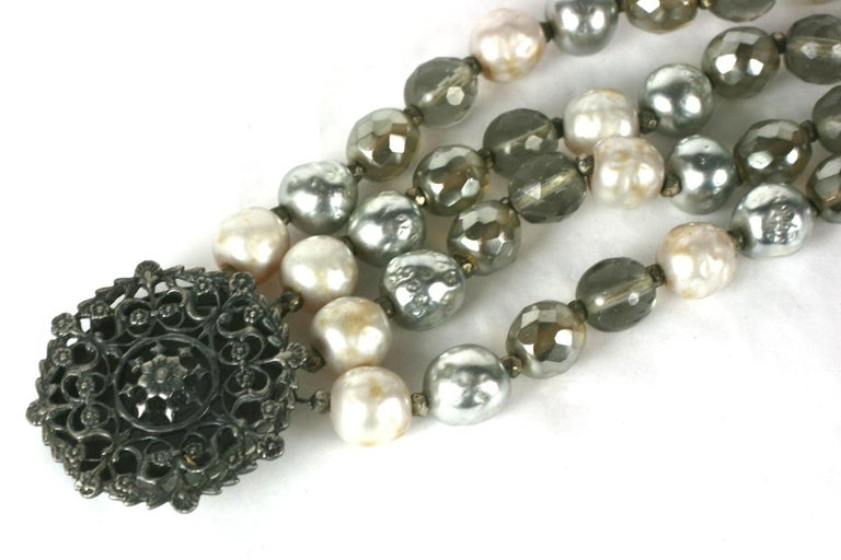 Miriam Haskell Pearl and Crystal Bead Bracelet In Excellent Condition For Sale In Riverdale, NY