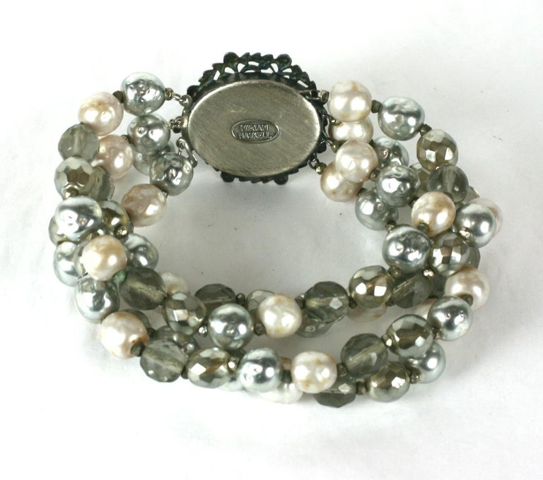 Women's Miriam Haskell Pearl and Crystal Bead Bracelet For Sale