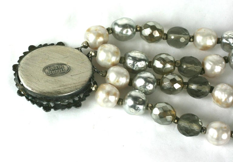 Miriam Haskell Pearl and Crystal Bead Bracelet For Sale 1