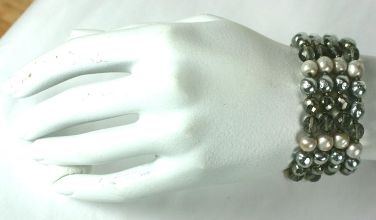 Miriam Haskell Pearl and Crystal Bead Bracelet For Sale 2