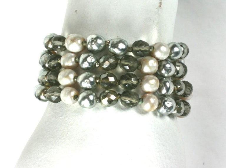 Miriam Haskell Pearl and Crystal Bead Bracelet For Sale 3