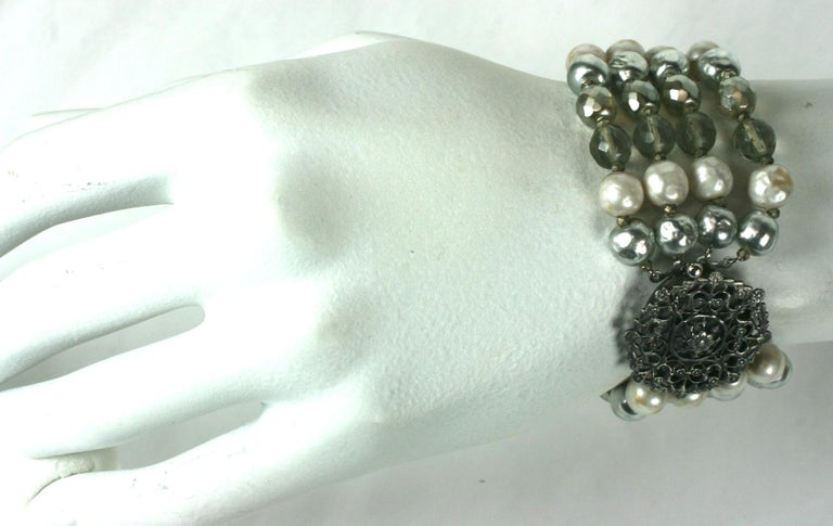 Miriam Haskell Pearl and Crystal Bead Bracelet For Sale 4