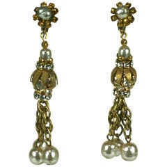 Miriam Haskell Pearl and Diamante Tassel Earclips