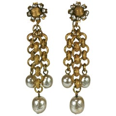 Miriam Haskell Pearl and Gilt Chain Chandelier Ear clips