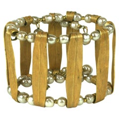 Miriam Haskell Pearl and Gold Cuff Bracelet