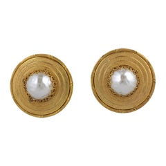Miriam Haskell  Pearl  and gold  large earclip