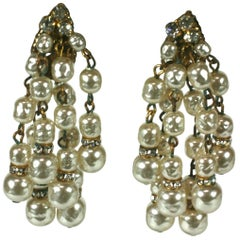 Miriam Haskell Pearl and Pave Waterfall Earclips